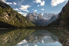 Reflections at Lagi di Landro. South Tyrol, Italy Royalty Free Stock Photos