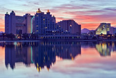 Reflections in lagoon of Eilat city, Israel Stock Images