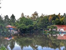 Reflections on the lake of lakeside buildings Stock Images