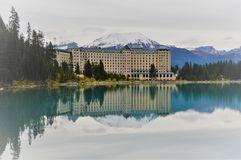 Reflections of Lake Louise Lodge, Canada stock photos