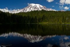 Reflections Lake near Mount Rainier Royalty Free Stock Photo