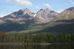 Reflections Lake Palmer Alaska. Twin Peaks from Reflections Lake Palmer Wasilla, Alaska Royalty Free Stock Photos