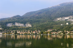 Reflections in the lake. Lake of Pusiano, landscape, view from Bosisio Parini in the province of Lecco Italy, september 2013 Royalty Free Stock Photo