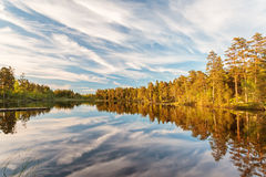 Reflections in a lake in Smaland, Sweden Stock Photos