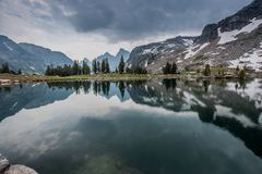 Reflections In Lake Solitude. In Wyoming wilderness Stock Photography