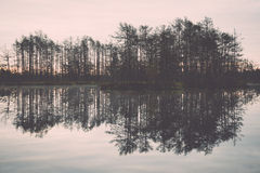 Reflections in the lake water. Vintage. Stock Photo