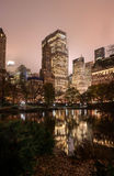 Reflections of Manhattan in Central Park pond at night 2 Royalty Free Stock Photo