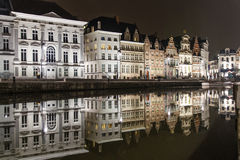 Reflections of medieval buildings in a canal in Ghent Stock Images