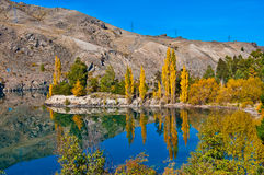 Reflections in Mirror Lakes. New Zealand stock images