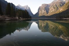 Reflections mountains dolomites lake dobbiaco toblach dolomites south tyrol italy Royalty Free Stock Photo