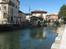 Reflections on Naviglio Martesana Royalty Free Stock Photography