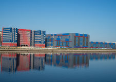 Reflections on the Neva river of new buildings being constructed Stock Photography