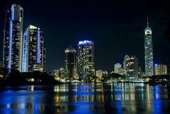Reflections. Night cityscape of Surfers Paradise Stock Photos