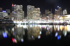 Light reflections city at harbour by night Royalty Free Stock Photography
