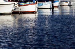 Reflections of Old Fishing Boats Port Staint Raphael. The Riviera, France Stock Image