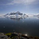 Reflections in Paradise Bay, Antarctica. stock photo