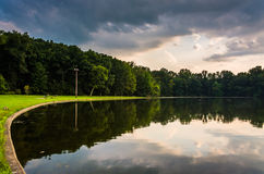 Reflections in Pinchot Lake at sunset, in Gifford Pinchot State Royalty Free Stock Photo