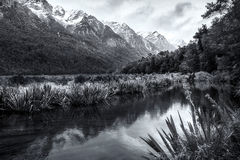 Reflections in a pond of snow covered mountains in New Zealand South Island in black and white Stock Image