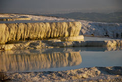 Reflections of pools of Pamukkale during evening Royalty Free Stock Photos