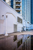 Reflections in a puddle of the Trump Taj Mahal in Atlantic City, Stock Photography