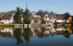 Reflections in the river. The city of Montbeliard, France. Reflection in the river stock photos