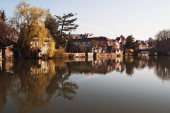 Reflections in the river. The city of Montbeliard, France. Reflection in the river royalty free stock photo