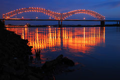 Reflections on the River. Lights of the De Soto Bridge in Memphis Reflect in the Mississippi River Royalty Free Stock Image