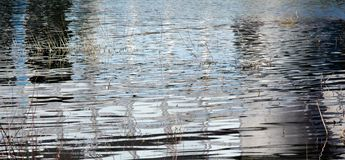 Reflections on the river surface in the evening stock photography