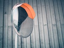 Reflections of the road from traffic convex mirror pole. For car traffic safety, With space for place your text stock photo