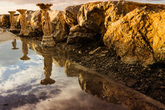 Reflections On Rocks And Statues Stock Images