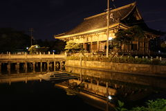 Reflections of Rokujidou Hall in Shitennoji Temple in Osaka, Jap Stock Photo