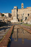 Reflections of the Roman forum, Rome. After rain came down, a great blu sky of a cold winter morning over Rome Stock Photography