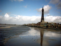 Reflections in the Sand. Blackpool Tower reflections in the sand at Dusk Stock Photo