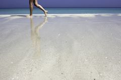 Reflections in the sand stock image