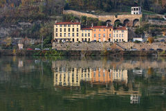 Reflections in Saone River waters Royalty Free Stock Images