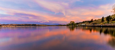 Reflections of a Scenic Sunset in the Waters of Hauser Lake, Mon Royalty Free Stock Photo