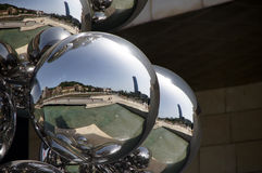 Reflections in sculpture Guggenheim museum in Bilbao. Reflections in ball sculpture at Guggenheim museum in  Bilbao Basque Country in Spain Royalty Free Stock Photo