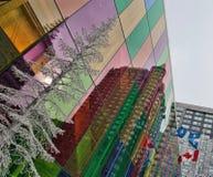 Reflections of Silver Tree and Flags--Palais des congrès de Montréal Royalty Free Stock Photography