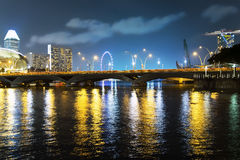 Reflections of Singapore River. Stock Photo