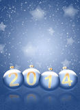 2014 with reflections and snow. Christmas background. 2014 with reflections and snowflakes on a blue background Vector Illustration