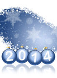 2014 with reflections and snow. Christmas background. 2014 with reflections and snowflakes on a blue background Royalty Free Illustration
