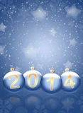 2014 with reflections and snow. Christmas background. 2014 with reflections and snowflakes on a blue background Stock Illustration