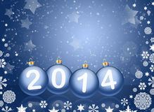 2014 with reflections and snow Royalty Free Stock Image