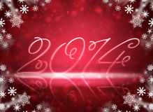 2014 with reflections and snow. Christmas background is. 2014 with reflections and snowflakes on a red background Vector Illustration