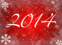 2014 with reflections and snow. Christmas background. 2014 with reflections and snowflakes on a red background Vector Illustration