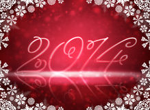 2014 with reflections and snow. Christmas background. 2014 with reflections and snowflakes on a red background Royalty Free Illustration