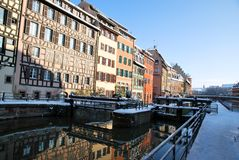 Reflections of Strasbourg during winter Royalty Free Stock Photography