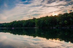 Reflections at sunset in Lake Marburg, Codorus State Park, Penns Stock Photography