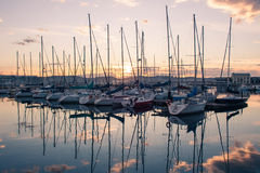 Reflections on a sunset at sea. Lots of shades and reflections on a sunset at sea Stock Image