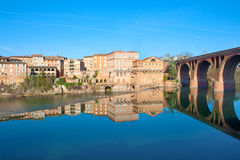 Reflections on the Tarn in Albi. Reflections of buildings on the Tarn in Albi, France Stock Photography